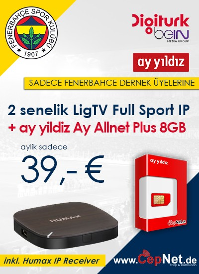 Fenerbahce Humax IP Full Sports + Ay Yildiz Plus 2 Senelik Digiturk Fullsport + 8 GB Internet