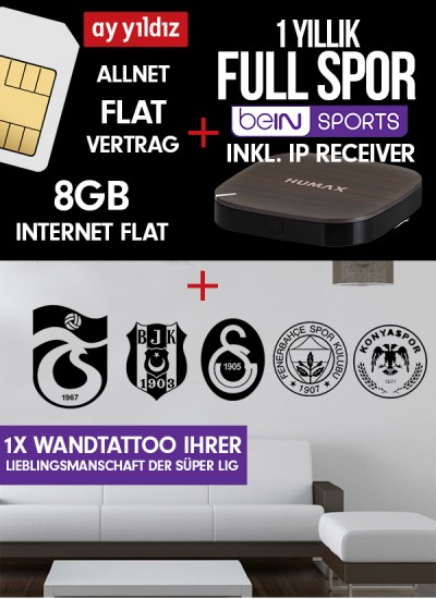 Digiturk Euro IP Full Spor + Wandtattoo Bundle