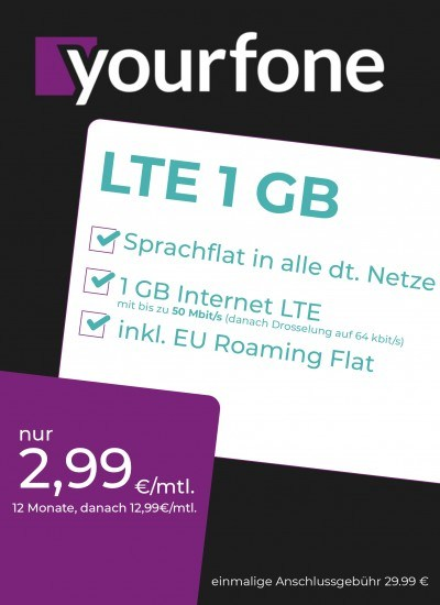 Yourfone LTE 1GB Sim Only