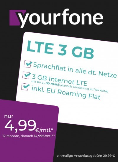 Yourfone LTE 3GB Sim Only