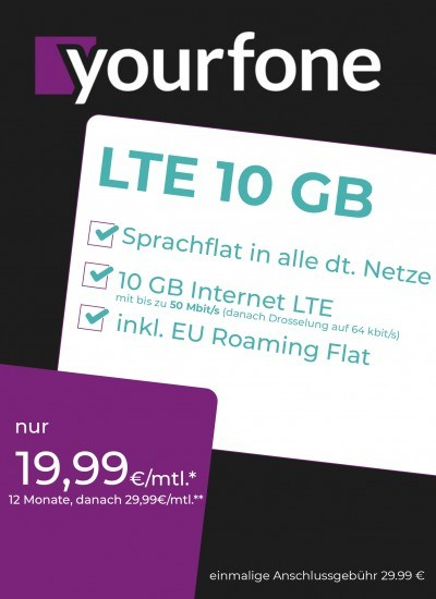 Yourfone LTE 10GB Sim Only