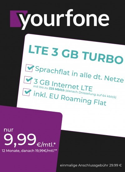 Yourfone LTE 3GB Turbo Sim Only